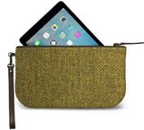Green Harris Tweed Small Wristlet Clutch Open View