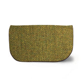 Green Harris Tweed Suede Clutch Bag Front View