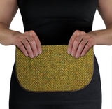 Green Harris Tweed Suede Clutch Bag Held View