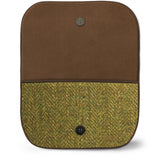 Green Harris Tweed Suede Clutch Bag Open View