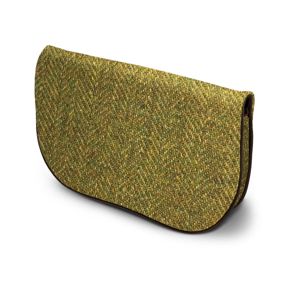 Green Harris Tweed Suede Clutch Bag Side View