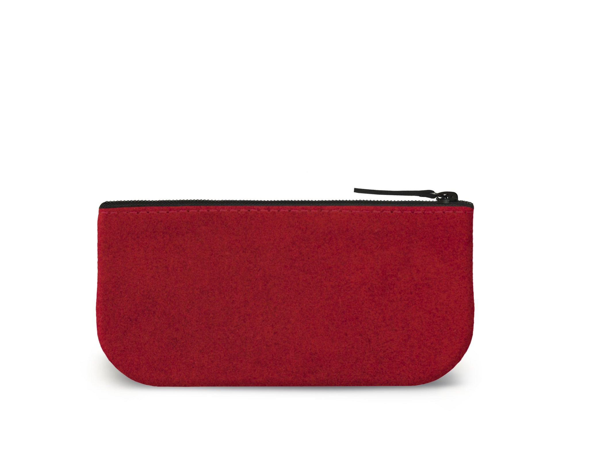 Tartan Plaid Clutch Makeup Bag Red Suede Back View