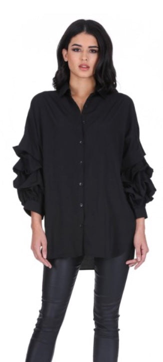 Frill Sleeve Shirt Black