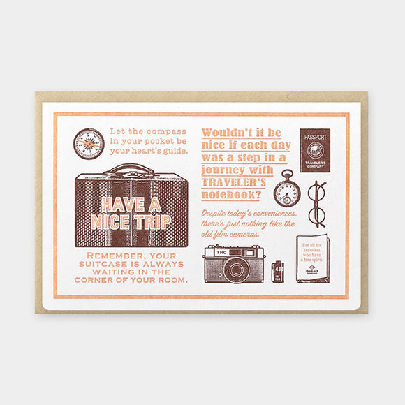 TRAVELER'S Company Travel Tools Collection: Letterpress Card (Brown)