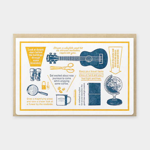 TRAVELER'S Company Travel Tools Collection: Letterpress Card (Blue)