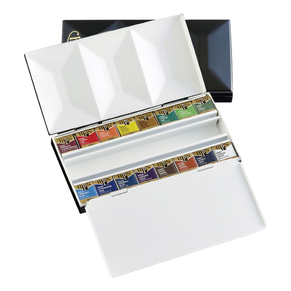 Artist's Metal Box Plus Watercolors in Half Pans (16)