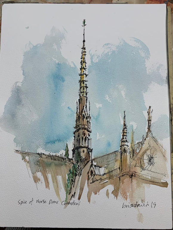Spire of Notre-Dame Cathedral Postcard by Brian Tai