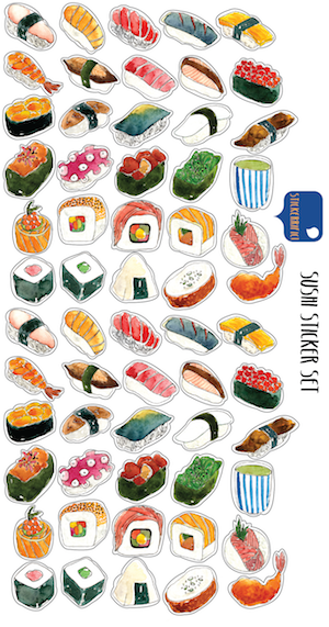 STICKERRIFIC Sushi Sticker Set