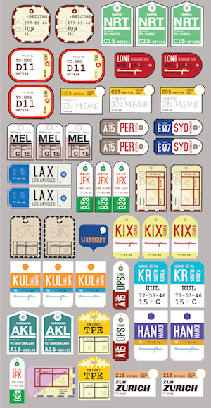 STICKERRIFIC Airline Labels Stickers