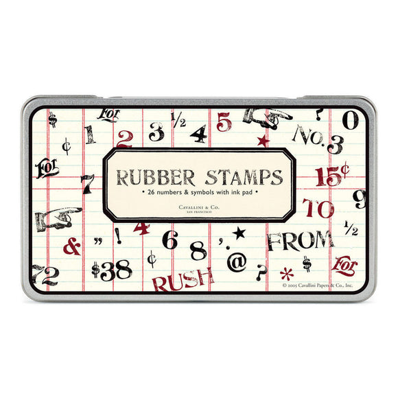 Cavallini Numbers & Symbols (Large) Rubber Stamp Set