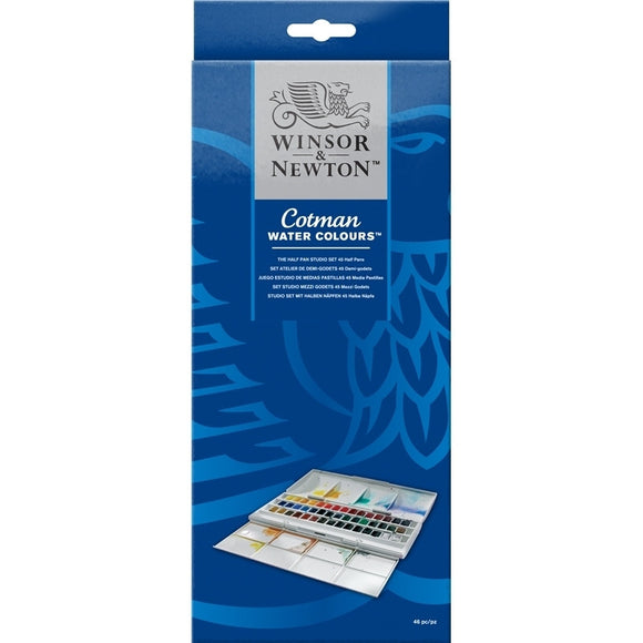 Winsor & Newton Cotman Water Colours Half Pan Studio Set / 45 Colors
