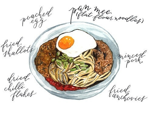 Malaysia Food Postcard | Pan Mee  - Stickerrific