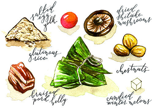 Malaysia Food Postcard | Bak Zhang (Rice Dumpling)  - Stickerrific