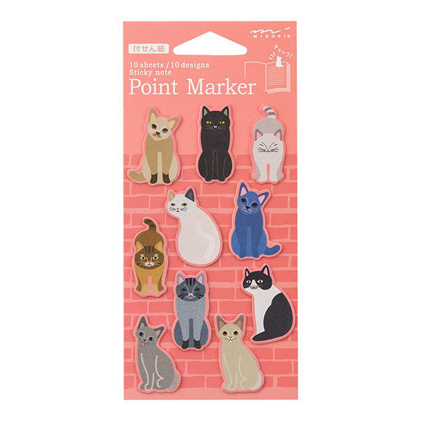 Midori Point Marker Sticky Note (S) // Cat