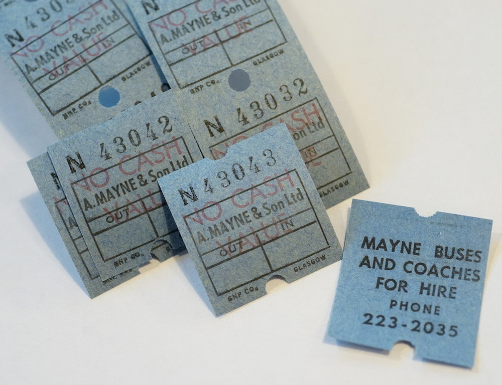 Vintage Maynes of Manchester Bus Tickets  - Stickerrific