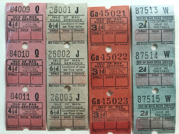 Vintage Isle of Man British Bus Tickets