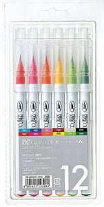 ZIG Clean Color Real Brush Pen Sets - 12 Pen Set