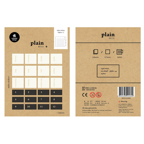 Suatelier Plain 44 Index Sticker Sheet