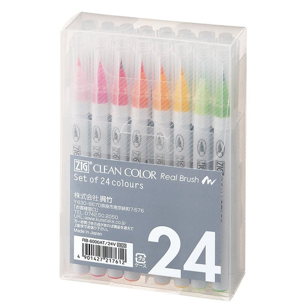 ZIG Clean Color Real Brush Pen Sets - 24 Pen Set
