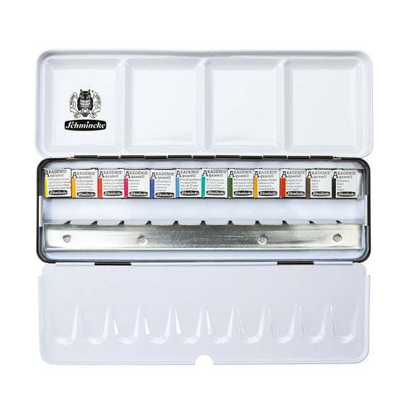 AKADEMIE® Aquarell metal box with 12 half pans