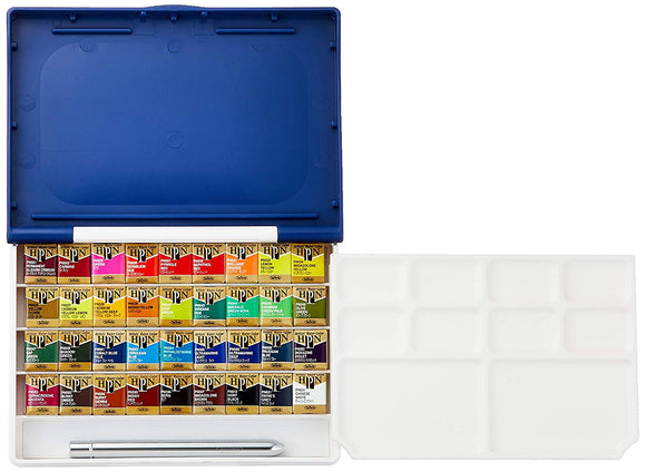 Artist's Palm Box Plus Watercolors in Half Pans (36)