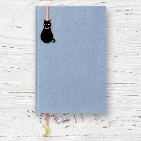Embroidered Bookmark Sticker // Black Cat