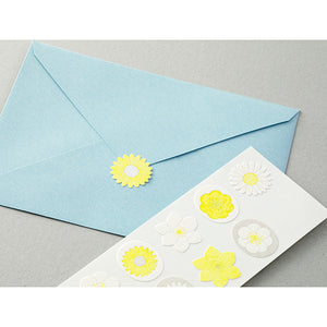 MIDORI Letterpress Sticker // White & Yellow Flowers