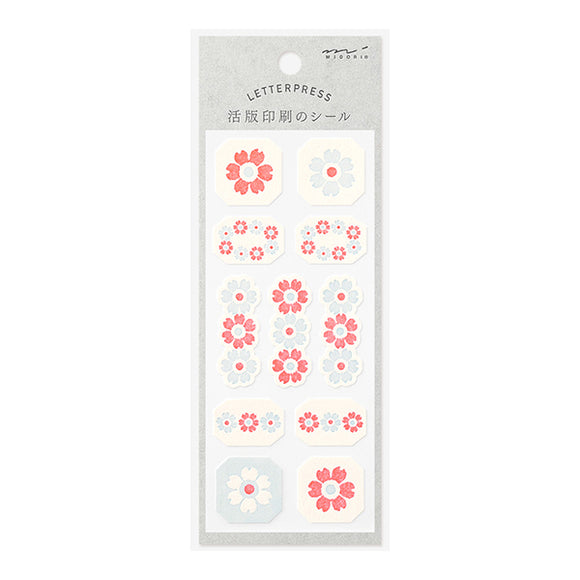 MIDORI Letterpress Sticker // Red & Baby Blue Flower Line