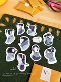 BlueBean 蓝豆 Girls in Scarf Flake Stickers