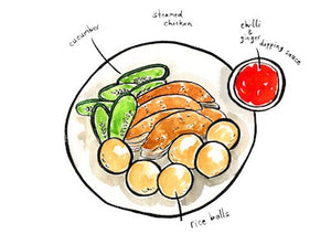 Malaysia Food Postcard | Chicken Rice Balls  - Stickerrific