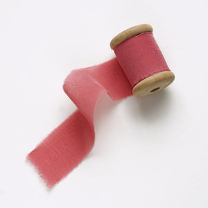Hand-Dyed Frayed Edge Silk Ribbon // Tea Rose