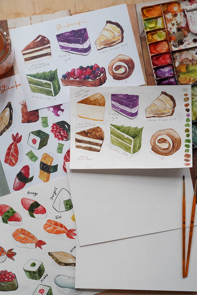 Food Watercolor Coloring Sheets