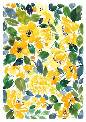 Yellow Florals Postcard