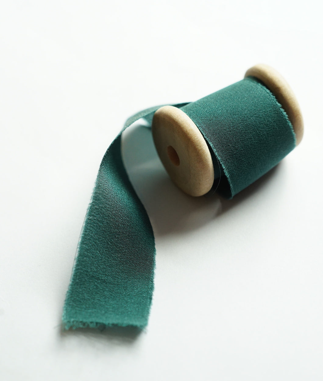 Hand-Dyed Frayed Edge Silk Ribbon // Forest