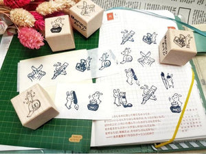 Maruco Rubber Stamp Set // Stationery Bunny