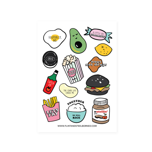 Flint and Steel Stickers / Food Puns