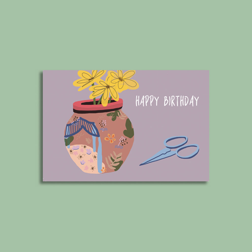 Happy Birthday Vase Card