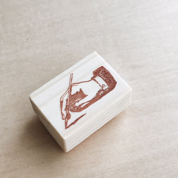 Hand with Pen Rubber Stamp III