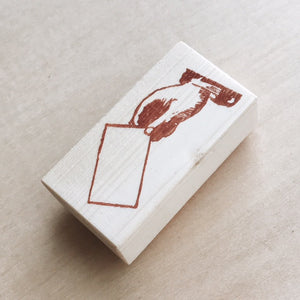 Hand Hold Envelope Rubber Stamp