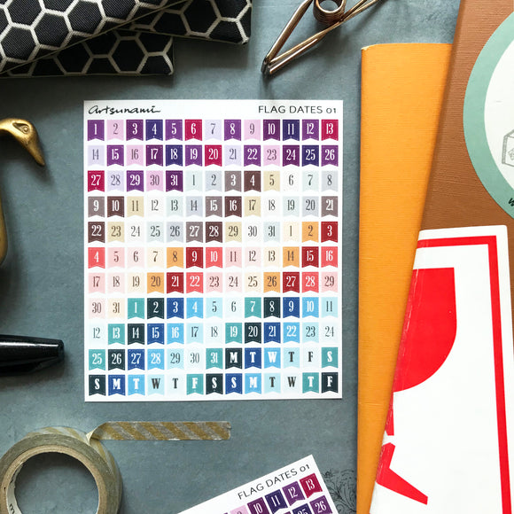 Artsunami Planner Stickers // Mini Flag Dates 01