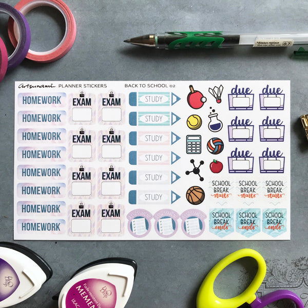 Artsunami Planner Stickers // Back to School 02