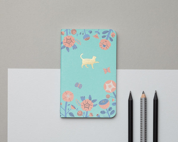 Mossery Flower and Cat Emblem Pocket Notebook