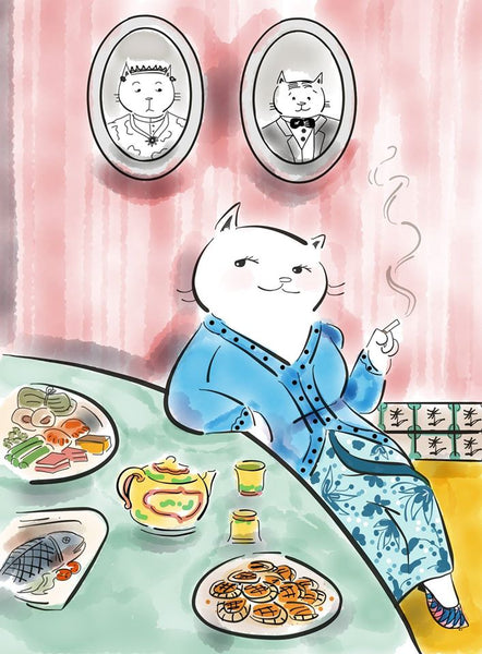 "KatDrawsCat | ""The Hostess"" Cat Postcard"