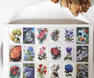 Botanical Postal Stamp Stickers