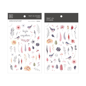 [NEW] Mu Craft Print-On Sticker // Birds & Flowers