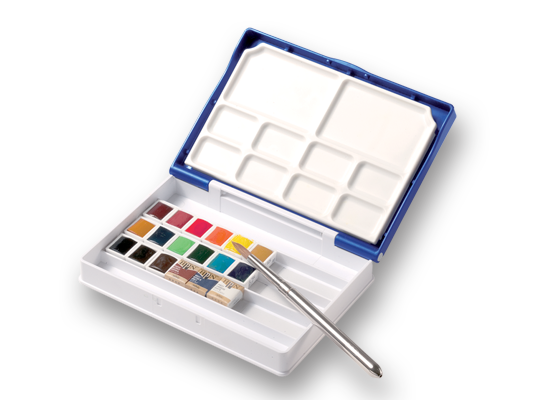Holbein Artist's Palm Box Plus Watercolors in Half Pans (18)