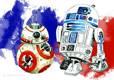 Star Wars BB-8 & R2-D2 Droid Postcard  - Stickerrific