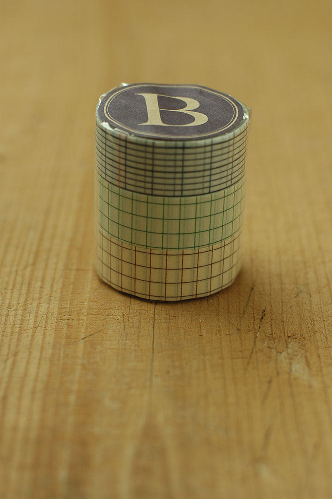 Classiky Washi Tape // Grid Set of 3 - 18mm (B)