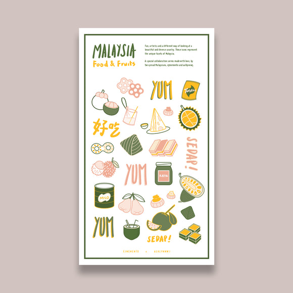 Malaysian Food & Fruits Stickers