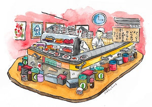 Conveyor Belt Sushi Postcard